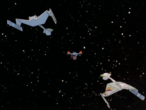 The Romulans catch them. The penalty for crossing the neutral zone is having to give up your ship