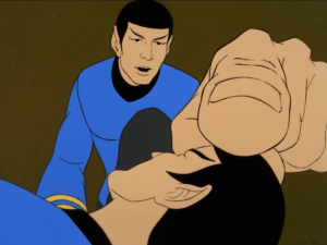 """So giant Spock does a """"vulcan mind touch"""" to restore his mind"""
