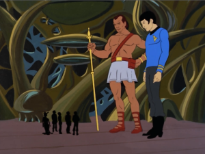 They find out that the original human actually wanted to make clones to act as a peace keeping force. Kirk explains that we've already got peace, so they don't need Spock. So they just leave the giant Spock to hang out with this guy and his plant people.