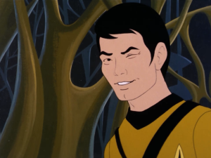 """One of the many odd lines from this episode: """"By the way, Mr. Sulu, any chance of teaching me that body throw? Could come in handy some time."""" """"I don't know, sir. It isn't just physical, you know. You have to be inscrutable."""" """"Inscrutable?!? Sulu, you're the most scrutable man I know!"""""""
