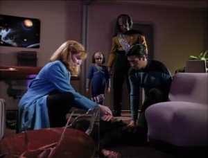 Worf tells his son to look at the body, to see death and never forget it.