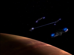 The Jem'Hadar attack and they go into a gas giant, even though it's a class J!!