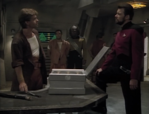 Two federation people are captured on Yar's home world. Riker runs into the rival gang of the people that took the hostages