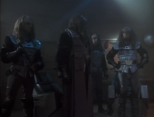 The two contenders to be the next chancellor, Gowron and Duras, show up