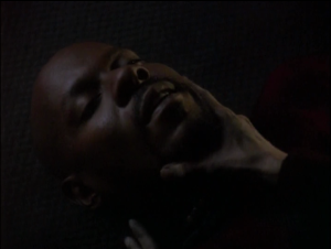 Sisko gets a concussion and Kira has to make sure he stays awake
