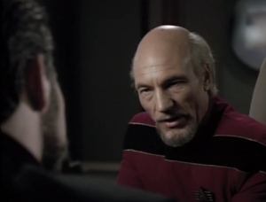 Picard says they need Riker to fake his way through the last bit of an important peace signing with the Romulans.