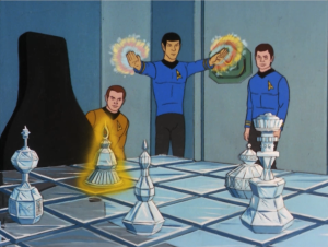 When they get back to the ship, Spock tries out some magic, since it's possible in this universe