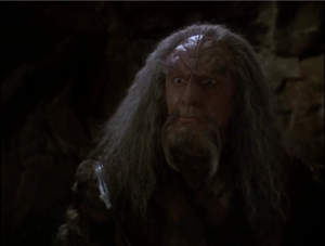 Kor starts to turn against Worf. He thinks he's not a great Klingon because he didn't act on his right to vengeance against the house of Duras