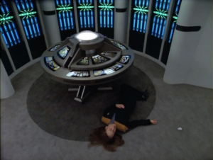 The episode moves at a pretty slow pace until B'Elana and the Doctor try to fix what's going on. Someone takes them out!