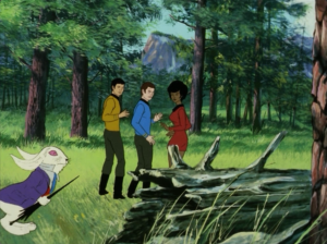 Kirk mentions that they're returning to what has become a shore leave planet, where your imaginations come true. If saying the title of the Original Series episode wasn't enough, they also replay the rabbit scene, just to extra remind you