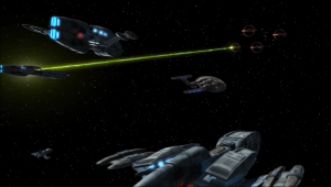 Enterprise tries to keep the Vulcan and Andorian forces from attacking each other, but that doesn't work too well