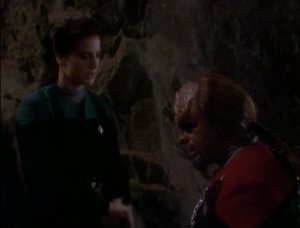 Worf starts to not like Kor, because he drinks too much and exaggerates his deeds, and also he might want to take over the Klingon Empire with the sword. Aw, but I wanted you guys to be best friends forever