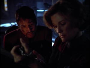 Chakotay replicates a neat watch for Janeway's birthday, so Janeway orders it to be destroyed