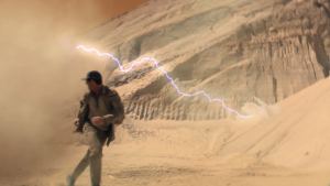 A lighting sand storm chases them!
