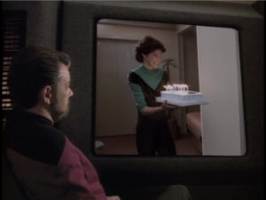 Riker looks up videos of his wife, who had died. Riker sees her and gets pissed