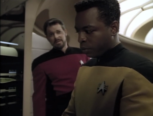 Then he goes and tells Geordi that he sucks, and it's taking him too long to fix the computer lag issue