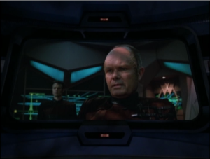 The time shift finds Voyager and tells them that regretfully they're gonna have to blow them up