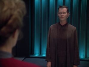 Janeway tells the lady that she should stop, but the lady says nah