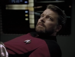 Riker has trouble beaming back in time. When he wakes up, it's 16 years later and he's the captain of Enterprise