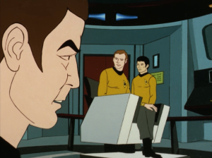 Bones and Sulu beam up and make their way to the bridge and are half way through explaining what's going on before Scotty says he wasn't able to beam up Uhura