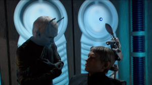 Shran has to be certain that it's not some kind of trick so he tortures Soval a little bit