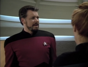 Crusher thinks showing him familiar places, like his room, will jog his memory. When Riker says he wants to go to the bridge instead, the computer lags