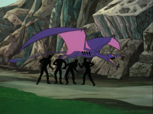 They send an away team to get Uhura, but are intercepted by pterodactyls