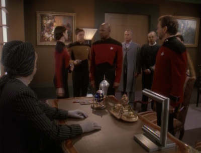 The admiral figures out a way to make Sisko look like he's a changeling from a blood test