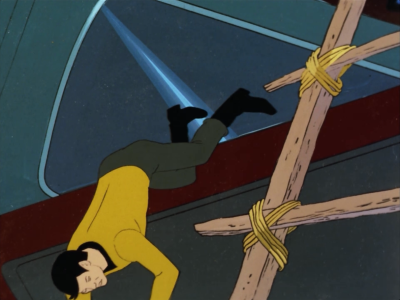 Sulu falls off his station and breaks his leg. You can totally tell it was just a stunt double in this shot. It only kind of looks like him