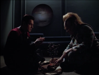 Chakotay helps Neelix go through a vision quest