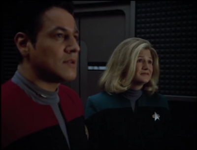 Chakotay tries to convince him to stop, but it was ultimately Wildman just wondering in, not knowing what was going on, and asking Neelix to help get Noami to sleep