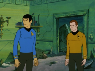 Spock and Kirk look through an ancient land city that sunk in earthquakes. They figure out the way to change them back
