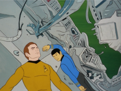 The rest of the crew is beamed away but the couldn't get Kirk and Spock