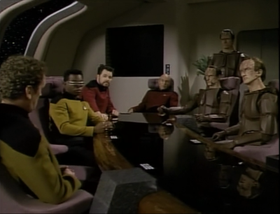 Some Cardassians tag along. O'Brien served under the captian they're searching for, Maxwell