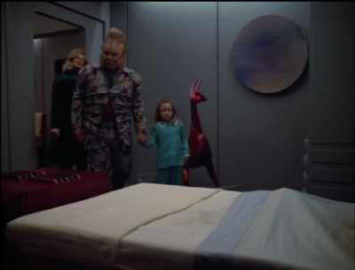 Naomi had been having trouble sleeping, thinking that there were monsters in her room. Maybe it's cause that demon-horse thing in the corner. Neelix would tell her about the great forest to calm her down