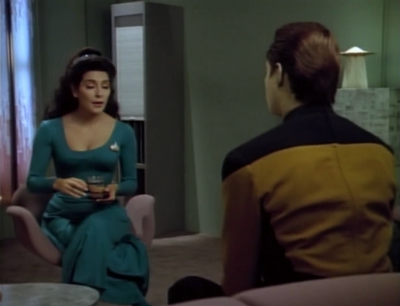 Some of Data's comentary is kind of lame, but I like how he describes some of his relationships. I had always thought Troi would have a different reaction to Data since he doesn't have emotions