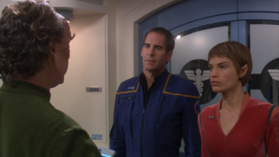 They realized they're being watched and inhabit Archer and T'Pol to pay a visit to Phlox. They erase his memory