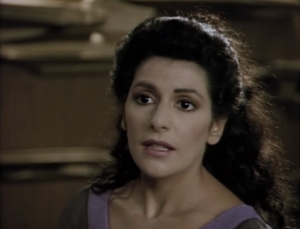 Troi is ordered to figure out what these particles want. She tells Data he isn't thinking 2 dimensional