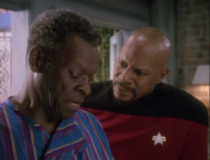 Sisko's dad doesn't want blood screenings. He brings up the point that it wouldn't be a very hard thing for changleings to get around, but I wished they addressed more holes, like if the changeling replaced Odo. There are ways they could've answered this, but they don't even try.