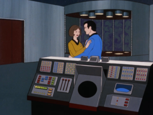 Kirk tries to have everyone beamed up, but the transporter team is busy having a dance