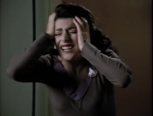 Something happens to Troi and she loses her telepathic abilities