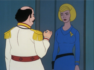 Mudd offers Chapel one of his love crystals to use on Spock
