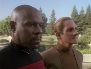 Sisko and Odo go to  San Fransisco, and Sisko is made into the main security dude for Earth