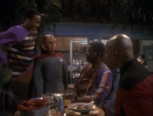 Sisko and Jake see their father at his resturant and apparently Nog goes there all the time