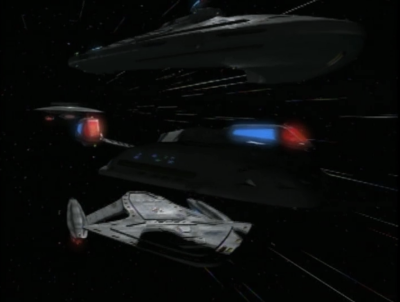 When a Federation ship attacks, they test out the Prometheus' splitting function