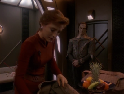 Dukat has been demoted because of Ziyal, and now has to transport Kira somewhere.