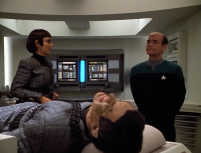 One of the Romulans gets hurt and the Doctor plays it cool