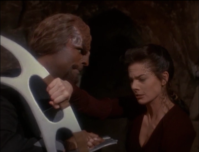 Worf and Jadzia practice fighting together, and probably are in love