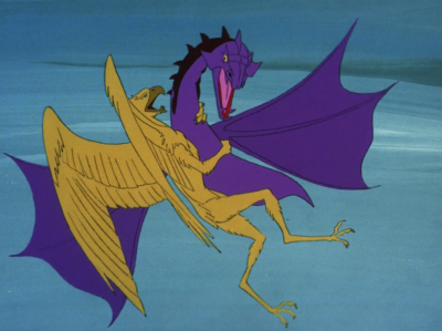 They get attacked by the same purple things that we've seen on two other planets. They take the bird guy away