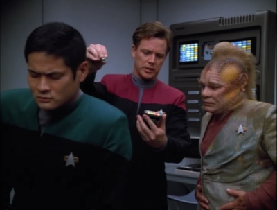 For an irrelevant sub-plot, Paris takes over for the Doctor on Voyager and he doesn't really like it